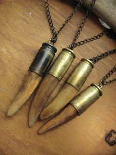 deer antler pendant necklace from etsy Deer Antler Jewelry, Deer Antler Crafts, Antler Wreath, Antler Ring, Antler Art, Deer Antlers, Deer Heads, Bullet Casing Crafts, Bullet Casing Jewelry