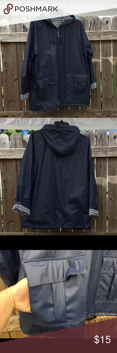 MTC Thermal Slicker rain coat Practically new, navy blue exterior with light blue plaid interior. One small spot shown in last picture. Inventory Reference: CL-004 MTC Thermal Slicker Jackets & Coats Utility Jackets
