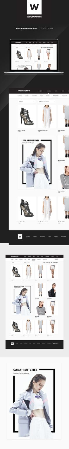 Minimal concept redesign for the Woolworths online store in South Africa.