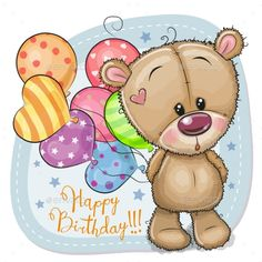 Greeting card Teddy Bear with balloons. Greeting card Cute Cartoon Teddy Bear with balloons royalty free illustration Tatty Teddy, Birthday Greetings, Happy Birthday Wishes, Card Birthday, Cartoon Mignon, Teddy Bear Drawing, Teddy Bear Pictures, Cute Cartoon Pictures, Cute Dragons