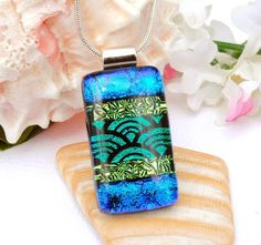 Fused Glass Jewelry Caribbean Island Dichroic by IntoTheLight, $24.00