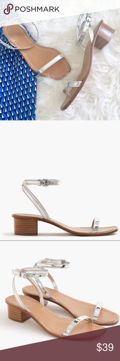 """J. Crew Metallic Strap Block Heel An easy heeled sandal with sleek metallic straps gives """"summer shoes"""" a whole new meaning.  Polyurethane/poly upper. Leather sole. Made in Italy. Online only. Item F1336.  They are an 8, I have wide feet, these were too narrow for me. But they are so cute & chic, if only my feet were average width!   Heel height is 1 3/4 inches J. Crew Shoes Sandals"""