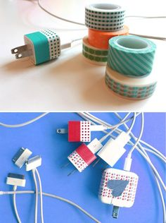 DIY Washi Tape Projects and Ideas | Washi Tape Phone Chargers by DIY Ready at  http://diyready.com/100-creative-ways-to-use-washi-tape/