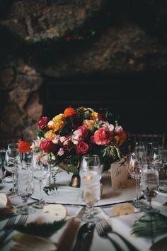 Centerpiece Pink magenta yellow orange maroon  Mountain wedding decor