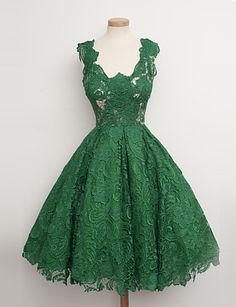 Cocktail Party Dress-Pearl Pink / Dark Green Ball Gown V-neck Knee-length Lace 4933659 2016 – $89.99