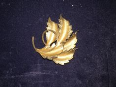 Gorgeous Vintage Goldtone Leaf Brooch/Scarf Pin; Jeweled Accessory by Pamsplunder on Etsy