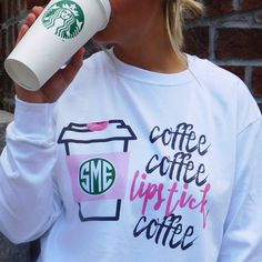 The Perfect Long Sleeve for Monogram Monday Mornings in the Fall Be the FIRST to wear this BRAND NEW Monogrammed 'Coffee & Lipstick' Long Sleeve Tee!☕️☕️☕️