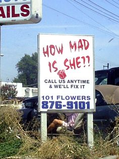 The only honest florist in America. | 14 Signs That Are Completely Hysterical