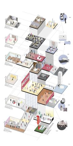 Saic Tinglei Zhang, case study exhibition 'One Night Stand' - Architectur Plan Concept Architecture, Architecture Presentation Board, Architecture Collage, Architecture Board, Architecture Graphics, Architecture Visualization, Architecture Drawings, Architecture Portfolio, Architecture Design