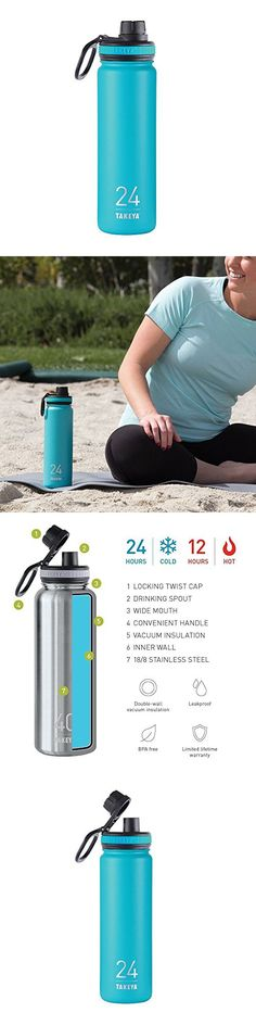 Takeya ThermoFlask Insulated Stainless Steel Water Bottle, 24 oz, Ocean