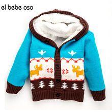 el bebe oso Children Winter Sweater Kid Single Breasted Sweaters Baby Girl Boy's Cardigans Christmas Deer Fleece Warm Coat XL52(China (Mainland))