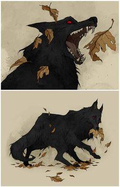 Black Shuck by AbigailLarson on DeviantArt Anime Wolf, Animal Drawings, Art Drawings, Mucha Art Nouveau, Black Shuck, Dessin Old School, Arte Peculiar, Wolf Sketch, Werewolf Art