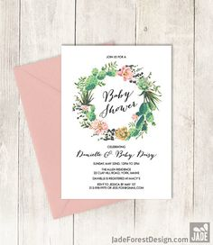 Floral Baby Shower Invitation DIY // Pink by JadeForestDesign