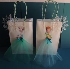 10 Pieces Frozen Fever Elsa Anna Paper Tutu Birthday Favor Goody Gift Bags
