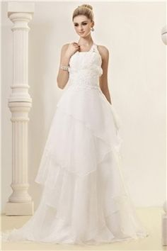 Gorgeous A-line Halter Floor-Length Court Train Dasha's Wedding Dress EF90652