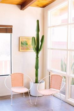 Pretty peach wire circle chairs, with huge floor to ceiling windows, tons of natural light, a watercolor on the wall and a happy tall indoor cactus. Love this minimalist feminine Southwestern style!