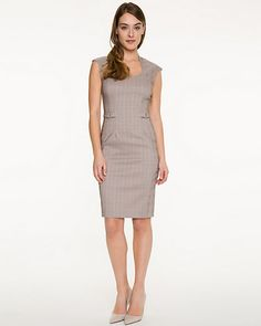 Bengaline Shift Dress  - A thin collar and expertly placed darts bring structure to a bengaline scoop neck dress.
