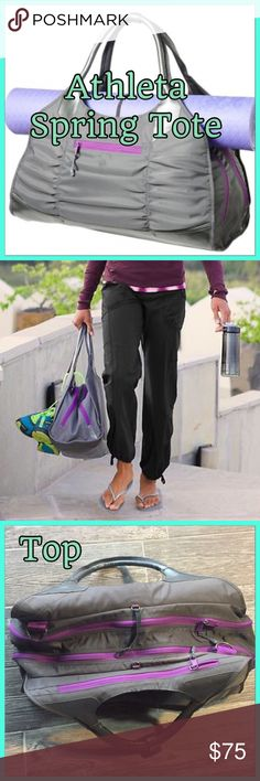 🌸 Amazing Athleta Do Everything Spring Gym Tote🌸 🌸🌸 NEW ATHLETA SPRING TOTE, $80 Users love Athleta's Spring Tote for its removable laundry and shoe bag, straps for holding a yoga mat and thoughtful, separated compartments. This bag will have you feeling in control under any circumstance. 🌸 Front pocket, three separate larger compartments, wet bag, tons of hooks and rings to fasten anything, this bag was rated in top 10 gym bags in 2017.🌸 Super hot slate and silver color with purple…