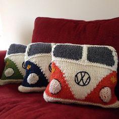 Camper Van Cushion pattern by Wendy Yarns Crochet Cushion Cover, Crochet Cushions, Cushion Covers, Crochet Box, Knit Crochet, Knitting Patterns Free, Free Knitting, Knitted Pouf, Crochet Decoration