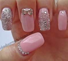 Want a fun summer manicure but think pink nail designs aren't your thing? Miss Nail Addict, listen up. Pink isn't what you remember from your very first manicure. Fancy Nails, Bling Nails, Trendy Nails, Cute Nails, Pink Bling, Glitter Nails, Rhinestone Nails, Pink Sparkles, Pink Bows