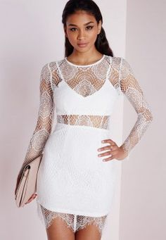 Lace Long Sleeve Bodycon Dress White