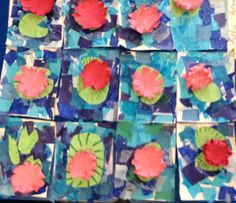 Baldwinsville Christian Academy - Art lesson K-6 artist Monet study. Tissue paper for each layer in water, flower and green lilies for the older kids to mimic impressionism