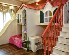 Incredibly practical use of space for both bed/play/storage - The Summer Cottage is a room made for two kids, with 2 beds under, a stair case with drawers leading to a playroom that can also be used for a 3rd guest for sleepovers, and a slid used more by adults than kids! this structure can hold the whole family for bedtime stories