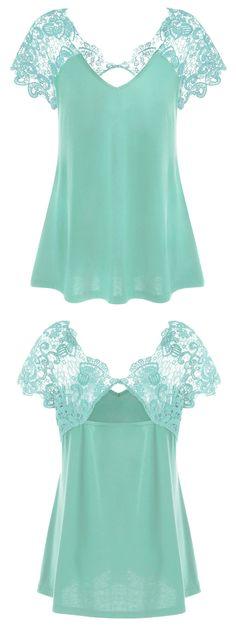$12.29 Plus Size Cutwork Lace Trim T-Shirt - Mint