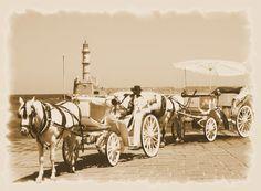Leuchtturm, Griechenland, Kreta, sepia, Cania, 'Kutsche' von hako bei artflakes.com als Poster oder Kunstdruck $16.63, (c) HaKo - Photo