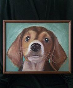 Beagle Hound Puppy Portrait oil on canvas original painting