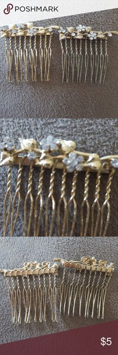 Gold hair combs! Worn a couple times but my hair is too thin. Can weave into your hair for a fancy or casual look! Gold with silver rhinestones. Best offer, will give further discount with multiple bundled jewelry items. Charming Charlie Accessories Hair Accessories