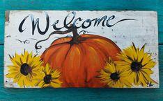 DECORATIVE WELCOME FALL SIGN GLITTER PUMPKIN ON COMPOSITE BOARD w