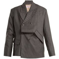 Charles Jeffrey LOVERBOY Distressed double-breasted pinstripe wool... (€850) ❤ liked on Polyvore featuring outerwear, jackets, blazers, blazer, woolen jacket, wool blazer, woven jacket, blazer jacket and asymmetrical blazer