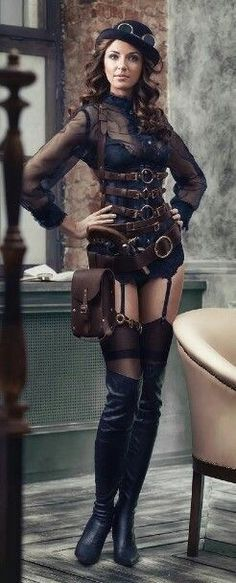 Safari Steampunk Anyone? Steampunk is a rapidly growing subculture of science fiction and fashion. Moda Steampunk, Couture Steampunk, Art Steampunk, Victorian Steampunk, Steampunk Clothing, Steampunk Lingerie, Steampunk Leggings, Steampunk Belt, Steampunk Outfits