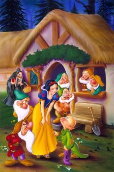 1994 – 'Snow White and the Seven Dwarfs' (home entertainment illustration, cover art, key art, packaging design) by Corey Wolfe. Client: Walt Disney Home Video Images Disney, Art Disney, Disney Pictures, Disney Love, Disney Princess Snow White, Snow White Disney, Disney Cartoon Characters, Disney Cartoons, Snow White Seven Dwarfs