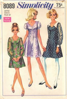 1969 Vintage Simplicity Pattern 8089 Size 9 by NeedleArtSupplies, $6.00