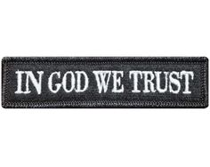 """V79 Tactical in god we trust patch Black & White 1""""x3.75"""" Velcro hook *Made in USA*"""