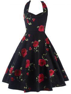 GET $50 NOW   Join RoseGal: Get YOUR $50 NOW!http://m.rosegal.com/vintage-dresses/halter-rose-print-vintage-dress-823688.html?seid=8483690rg823688