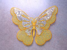 Yellow  Butterfly sequin large embroidered by SHOPTILLYOUDROPNOW, $5.50
