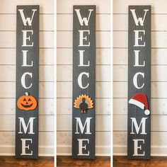 WELCOME vertical wooden sign with interchangable seasonal attachments – 1 attachment included – porch, front door sign – interchangeable O – Emily Dunkler – Diy Home Welcome Signs Front Door, Wooden Welcome Signs, Front Porch Signs, Wooden Signs, Holiday Signs, Christmas Signs, Fall Wood Signs, Wood Front Doors, Craft Night