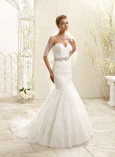 ADK Style 77964  Fabric: Soft tulle / Venice appliques / Detachable organza belt with crystal beaded appliqués