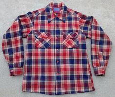 vtg PENDLETON wool board shirt Medium loop collar surf red blue plaid usa  #Pendleton #ButtonFront
