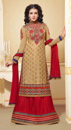 USD 45.45 Beige Georgette Sharara Suit 44486