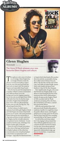 [REVIEW] 8/10 for @glennhughes #RESONATE via Classic Rock Magazine (UK) ~ Issue 231, JANUARY 2017.