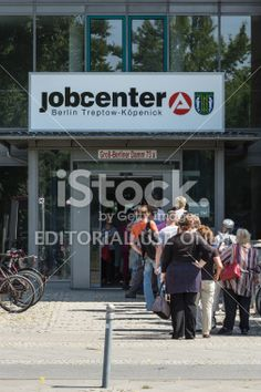 Unemployment Office with lot of unemployed people in Berlin Lizenzfreies Foto