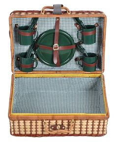 """Wicker Rattan Suitcase Style Picnic Basket - 18"""" Long x 12"""" Wide with Service for 4 - By Trademark Innovations $20.99"""