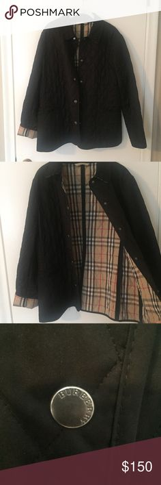 Quilted Burberry Coat - Size Large Black Lightweight quilted Burberry coat - Size Large. Sleeves can be worn cuffed or un-cuffed. Plaid detail on inside of coat and underneath the collar. Loose threads on both shoulders, but not noticeable when wearing. The left pocket needs slight repair where the corner has come loose. Easy fix. See pictures. Burberry Jackets & Coats