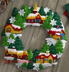 Bucilla Snow Village Wreath ~ Felt Christmas Home Decor Kit #86686, Church Trees in Crafts, Needlecrafts & Yarn, Embroidery & Cross Stitch   eBay!