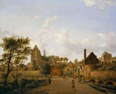 The South-West Approach to the Town of Veere with the Groote Kerk   Royal Collection Trust --- painting by Jan van der Heyden (1637-1712)