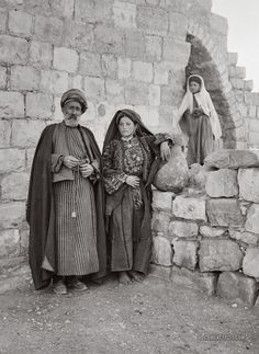 Sheikh of Ramallah and wife. Ramallah, Palestine. 1900-1920.